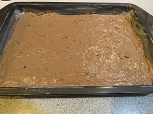 Chocolate Zucchini Space Cake Evenly Spread Batter
